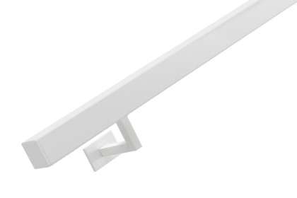 RVS trapleuning vierkant 40x40mm inclusief leuningdragers type W WIT RAL 9016